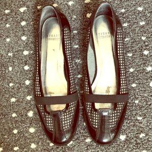 STUART WEITZMAN Black patent leather & mesh shoes